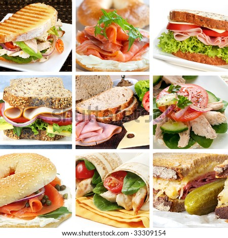 Collage of delicious sandwiches.  Includes bagels, wraps, sourdough, wholewheat. - stock photo