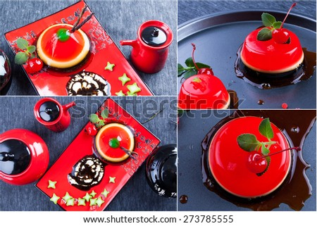 Collage of dessert and sweets. Red chinese  tea set.  Fruit  jelly with chocolate syrup. Food background. - stock photo