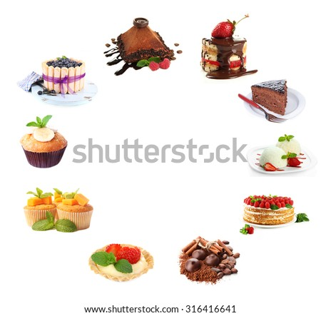 Collage of desserts isolated on white - stock photo