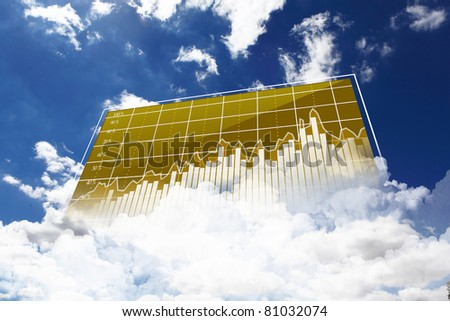 Collage of diagrams against sky and clouds - stock photo