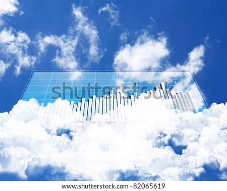 Collage of diagrams against sky and clouds