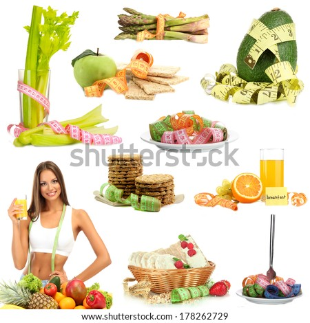 Collage of diet products isolated on white - stock photo