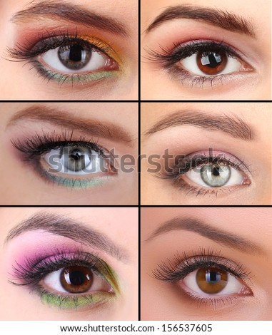 Collage of different beautiful make-up - stock photo