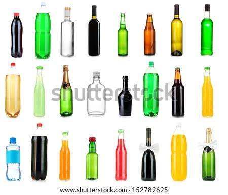 Collage of different bottles of liquids - stock photo