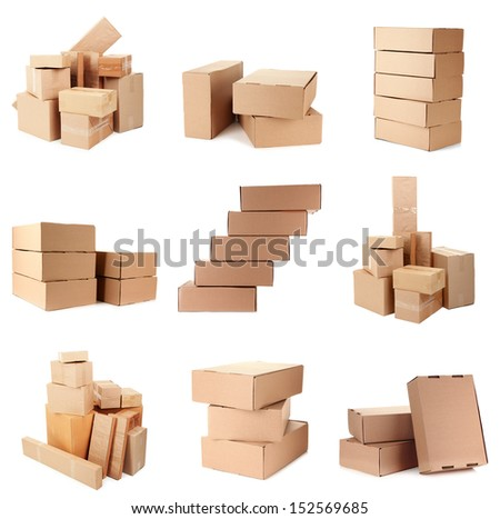 Collage of different boxes - stock photo