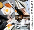 Collage of different business Breakfast time in restaurant - stock photo