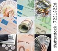 Collage of different cash - stock photo