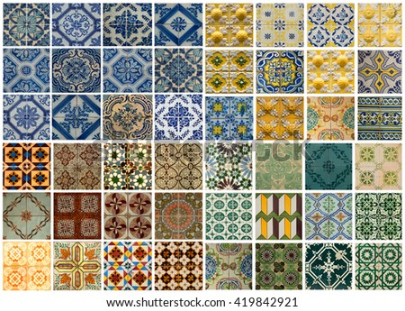 Collage of different colored pattern tiles in Lisbon, Portugal - stock photo