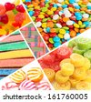 Collage of different colorful candy and sweets - stock photo