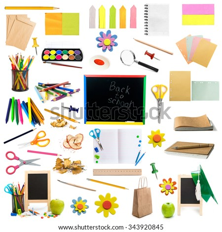 collage of different colorful childish stationery isolated on white background - stock photo