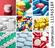 Collage of different colorful pills - stock photo