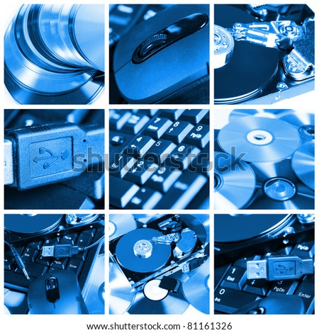Collage of different computer devices and equipment