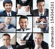 Collage of different confident businessmen - stock photo