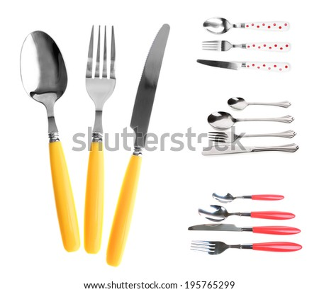 Collage of different cutlery design isolated on white - stock photo