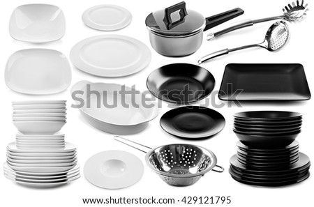 Collage of different dishes isolated on white - stock photo