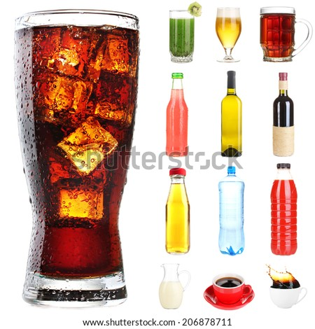 Collage of different drinks isolated on white - stock photo