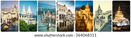 collage of different famous Budapest sights at night - stock photo
