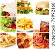 Collage of different fast food products - stock photo
