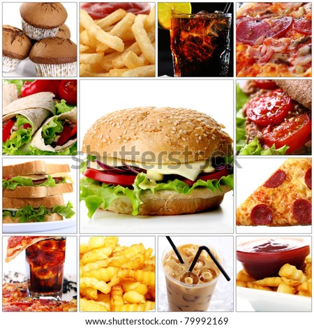 Collage of different fast food products with big cheeseburger in center - stock photo