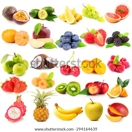 Collage of different fruits and berries isolated on white - stock photo