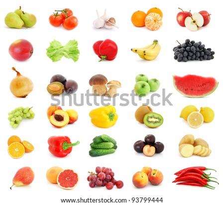 Collage of different fruits and vegetables isolated on white background - stock photo