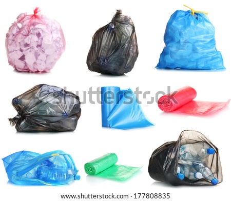 Collage of different garbage bags isolated on white - stock photo