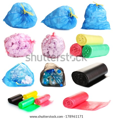Collage of different garbage bags  isolated on white