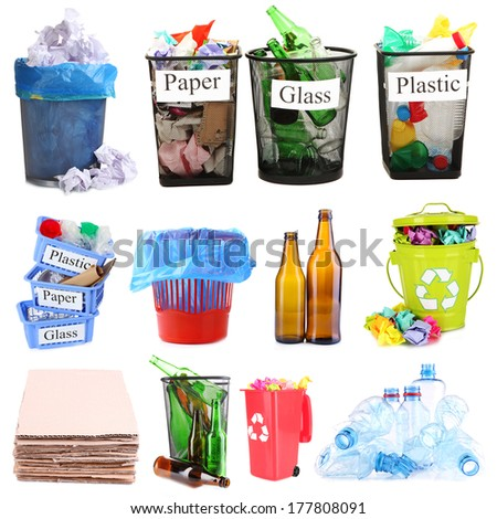 Collage of different garbage isolated on white - stock photo