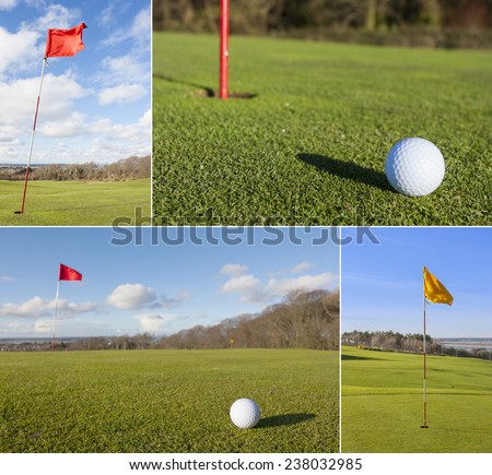 Collage of different golf picture in a sunny day