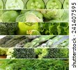 collage of different green vegetables ( peppers, asparagus,cucumbers, cabbage) - stock photo