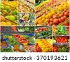 Collage of different grocery markets full of fruit and vegetables - stock photo