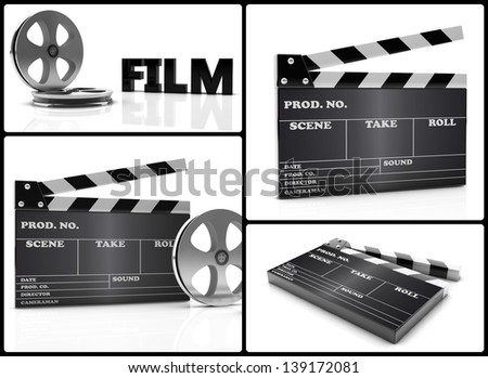 collage of different images of cinema clapboard and film - stock photo