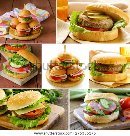 collage of different kinds of burger menu  - stock photo