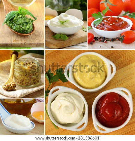 collage of different kinds of sauce (mustard, ketchup, mayonnaise, pesto) - stock photo