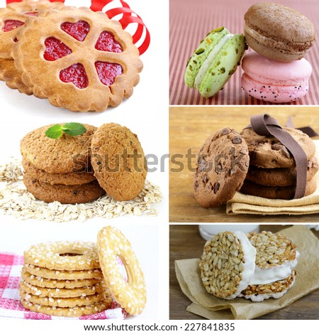 collage of different kinds of sweet cookies - stock photo