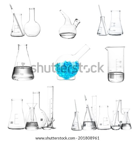 Collage of different laboratory glassware isolated on white - stock photo