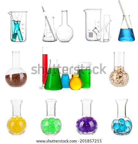 Blueprint chemical laboratory equipment glass stock illustration collage of different laboratory glassware isolated on white malvernweather Choice Image