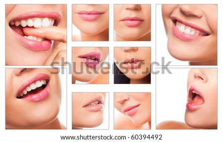 collage of different lips of caucasian woman with different emotions on white - stock photo