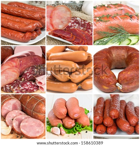 Collage of different meat sausages, close-up - stock photo
