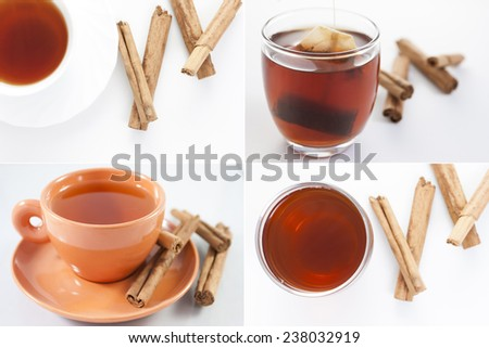 Collage of different mugs of Red tea with cinnamon - stock photo
