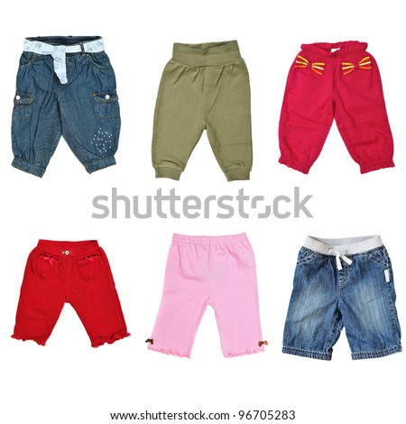 collage of different pants for baby - stock photo