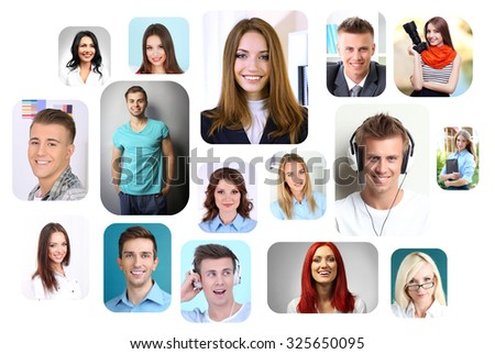 Collage of different people - stock photo