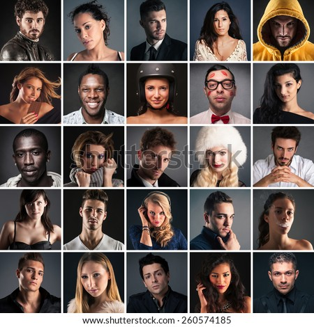 Collage of different people portrait on dark background. - stock photo