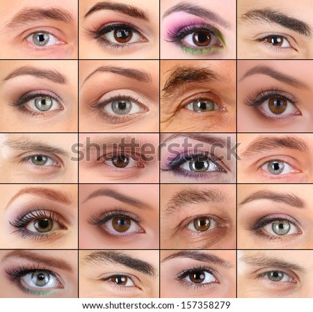 Collage of different people's eyes - stock photo