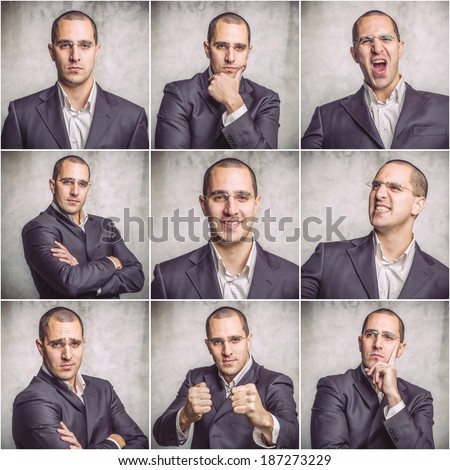 Collage of different photos of the young man with different emotions on her face - stock photo