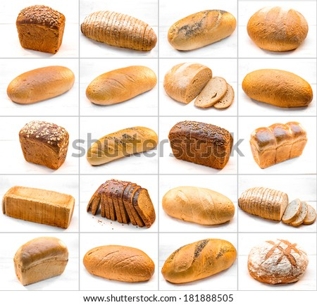collage of different photos with breads isolated on white background