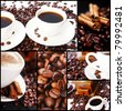Collage of different photos with coffee - stock photo