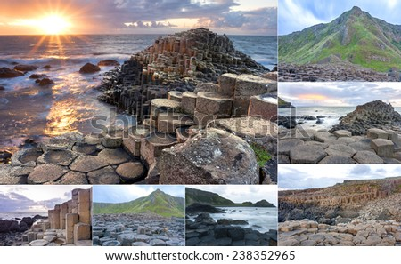 Collage of different pictures of Giants causeway in Northern Ireland - stock photo
