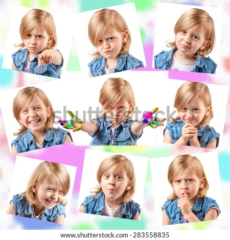 Collage of different portraits of the same cute girl - stock photo