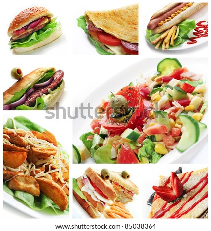 Collage of different restaurant dishes - stock photo